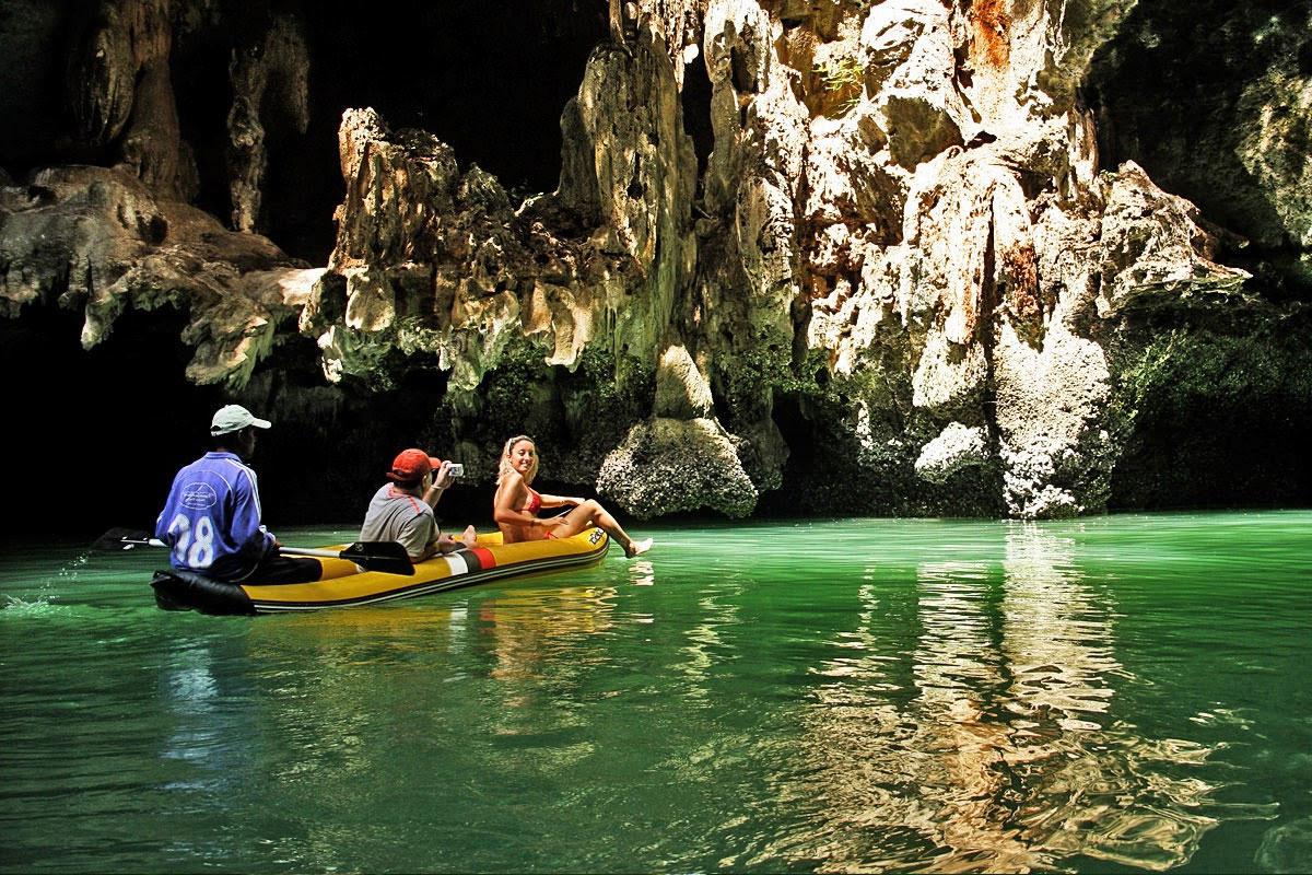 Canoeing at Panak island, Phang Nga bay